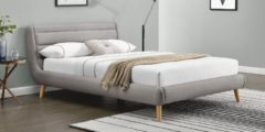 Licht-grijze Home Style Tweepersoonsbed Elanda 160x200cm in lichtgrijs