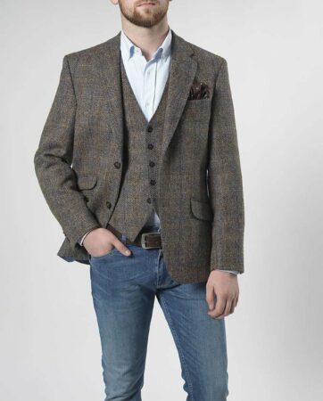 Afbeelding van Groene Harris Tweed Enkel rij, 2 knoops met klepzakken en zijsplitten Harris Tweed jackets Heren Colbert Maat EU52