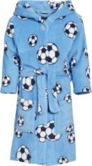 Playshoes fleece badjas Soccer met voetbal dessin lichtblauw
