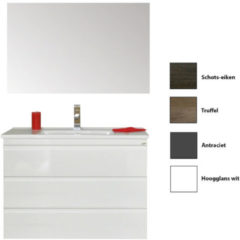 Badkamermeubelset Sanicare Q7 Drie Soft-Close Laden Greeploos 100 cm (alle kleuren, spiegel optioneel)