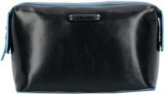 Zwarte Piquadro Blue Square Beauty in Pelle Toiletry Bag Black