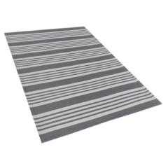 Beliani Buiten-vloerkleed strepen patroon grijs / wit 120 x 180 cm. DELHI