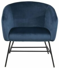 Donkerblauwe Lisomme fauteuil Lissy - Fluweel - Roze