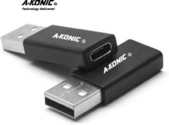 Zwarte A-Konic© Verloop adapter USB-C naar USB convertor | opzetstuk | office | USB 3.1 to USB C Adapter | pc | laptop | USB C naar USB A female | telefoon | Surface (Pro)| Dell | HP | Samsung | USB-A | Lenovo