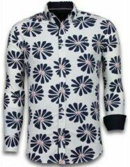 Tony Backer Italiaanse Overhemden - Slim Fit Overhemd - Blouse Big Leave Pattern - Wit Casual overhemden heren Heren Overhemd Maat 3XL