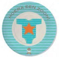 Haza Original Feestborden ''hoera Een Zoon'' 8 Stuks Blauw 18 Cm