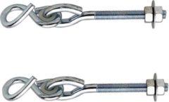 Zilveren 2x stuks schommelhaken / bevestigingshaken staal verzinkt 180 x 11 mm - voor ophangen en bevestigen van touw / voorwerpen - schommelhaken / krulhaak