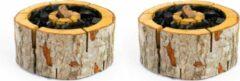 Bruine 2 Stuks Ecogrill maat L 20x20cm - Ecologische wegwerp barbecue / Milieuvriendelijke wegwerp bbq - eenmalig gebruik
