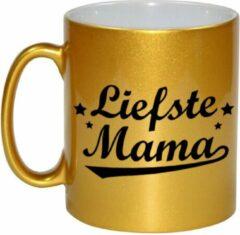 Goudkleurige Bellatio Decorations Liefste mama gouden mok / beker voor Moederdag 330 ml