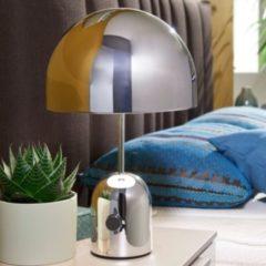 Wohnling Design Tischleuchte OHRI Metallschirm-Lampe dimmbar Nachttischlampe Silber Metalllampe E27 bis 60W Leselampe 1-flammig Ø 28 cm Tischlampe