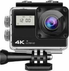 Zwarte Lipa AT-Q61CR 4K Ultra HD action camera IPS Wifi / action cam met mounts / Sony IMX sensor / 4K 60 FPS / 24 MP / 21 mounts / Elektronische beeldstabilisatie / waterproof case / Met SD-kaart 16 GB / dual screen