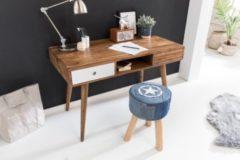 Wohnling Schreibtisch REPA weiß 120 x 60 x 75 cm Massiv Holz Laptoptisch Sheesham Natur Landhaus-Stil Arbeitstisch mit 2 Schubladen Bürotisch PC-Tis