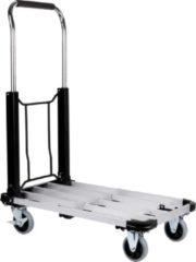Zilveren Kinzo Steekwagen met Platform - Platformwagen - Inklapbaar - 150 Kilo Draagvermogen