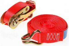 Rode Kelfort Spanband met ratelgesp + haken, 700kg 25mm-5m