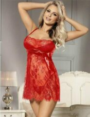 Rood sexy kanten nachtjurkje   Maat 42/44   Stijlvol Sexy Lingerie