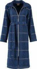 Donkerblauwe Cawö Badjas met rits - dames - cawo - kuitlengte - 100% premium katoen - bijgeleverd ceintuur - voorzien van glitter streep - sauna - hotelkwaliteit - maat 38
