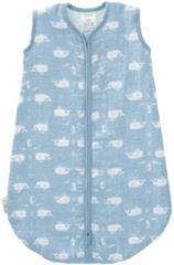 Blauwe Fresk slaapzak interlock Whale blue fog