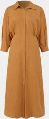 Oranje ZANZEA Solid Color Knotted Casual Dress