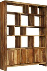 Bruine SJ interiors Boekenkast 150x35x200cm Sheesham Hout (Incl Magazine Houder) - Boeken kast - Boekenrek - badkamer rek - Woonkamer rek
