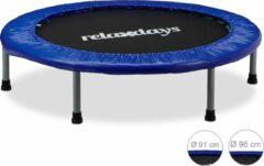 Blauwe Relaxdays - opvouwbaar trampoline met bungee elastiek voor kinderen tot 45 kg