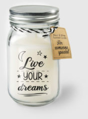 Witte Paper dreams Black & White geurkaars - Live your dreams