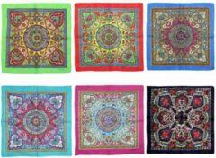 Attitude Holland Bandana Set of 6 Assorted Colour Retro/ Vintage Print Cotton Multicolours