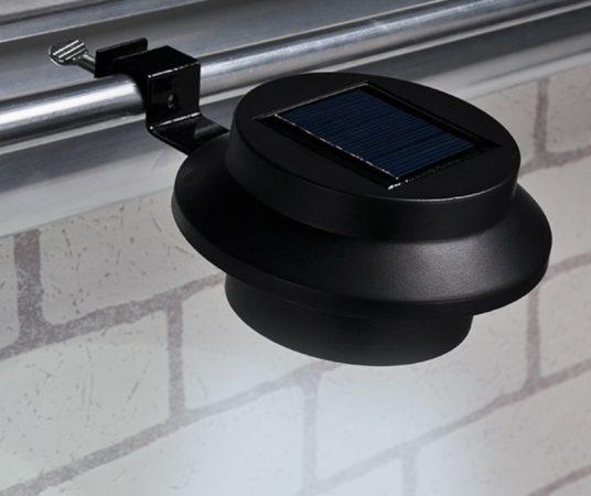 Afbeelding van Huismerk Premium 2 Dakgoot LED Solar Lampen Zwart - 600mAh