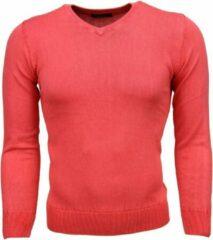 Tony Backer Casual Trui - Exclusive Blanco V-Hals - Roze / Rood Truien / Pullovers Heren Trui Maat L