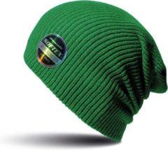 Result Warme gebreide Beanie wintermuts in het groen voor volwassenen - Damesmutsen / herenmutsen - 100% polyacryl