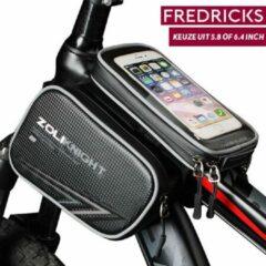 Fredricks - ZoliKnight Telefoontas voor de fiets met een waterdichte telefoonhouder voor op stuur of frame (bovenbuis). Geschikt voor telefoons / smartphones tot een grootte van 6.4 Inch - Zwart