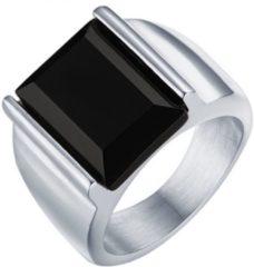 Zilveren Mendes edelstaal zegelring met Zwarte Agaat steen-20mm