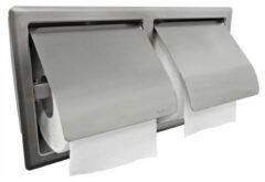 Douche Concurrent Toiletrolhouder Wiesbaden 304 Dubbel RVS Inbouw met Klep