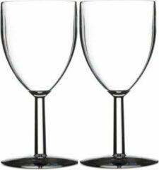 Transparante Merkloos / Sans marque 2x Wijnglazen van kunststof 200 ml - Onbreekbare camping/picknick glazen