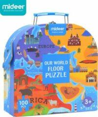 Vikids MiDeer - Wereldkaart - Menselijke Geografie - 100 grote puzzelstukjes in mooie doos - Kinderpuzzel - Educatief speelgoed voor kinderen - Puzzel voor peuters en kleuters vanaf 3 jaar
