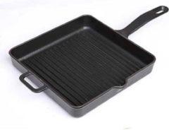 Surel Gietijzeren vierkante grillpan mat zwart, 25cm - Sürel
