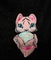 Roze Sabinesgeschenkenshop.be Knuffeldoekje tijgertje roos met pampers
