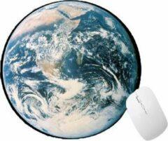 Blauwe FineGoods Muismat rond - wereldbol - wereld - world globe - muismatten - 20 x 20 cm - ronde mouse pad - mousepad