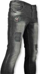 Justing Zwarte spijkerbroek met Patches heren - 045 Jeans Slim fit Jeans Maat W30
