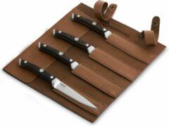 Bruine Burnhard Mes met Pakka houten handvat Steakmessen 4-delig