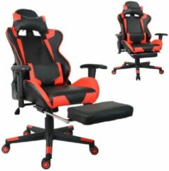 VDD Gaming Bureaustoel racing game chair style met voetsteun high premium design Thomas zwart rood