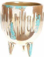 Bloempot Berkane, goud- lichtblauw 18 x Ø 14,5 cm aardewerk