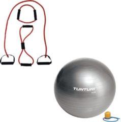 Tunturi - Fitness Set - Tubing Set Rood - Gymball Zilver 90 cm