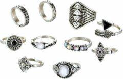 Fako Bijoux® - Ringen Set - Bohemian Stijl - Indira - 10-Delig - Zilverkleurig