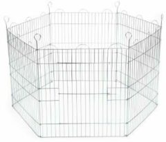 Zilveren Beeztees Konijnenren - 105 x 105 x 58 cm - Verzinkt - 6 Panelen