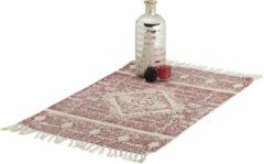 Relaxdays vloerkleed Ethno - wijnrood - laagpolig - met franjes - loper - tapijt - kleedje Rood, 60 x 90 cm