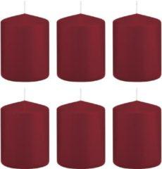 Trend Candles 6x Bordeauxrode cilinderkaarsen/stompkaarsen 6 x 8 cm 29 branduren - Geurloze kaarsen - Woondecoraties