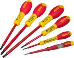Rode Stanley 6-Delige FatMax Schroevendraaierset Vde PH Parallel 2.5 X 50mm. 3.5 X 75mm. 5.5 X 150mm Phillips 1 X 100mm. 2 X 125mm Spanningszoeker 3 X 64mm