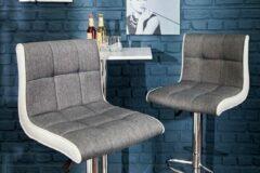 Interieurs online In hoogte verstelbare barstoelen grijs-witte barkruk met voetensteun set van 2