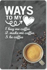 MousePadParadise Muismat Koffie Quotes 2 - Koffie quote 'Ways to my heart' op een achtergrond met een kop koffie en koffiebonen muismat rubber - 18x27 cm - Muismat met foto