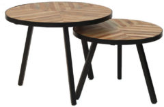 Bruine Bronx71 Livin24 - Industriële salontafel set Bronco mangohout (2 stuks)